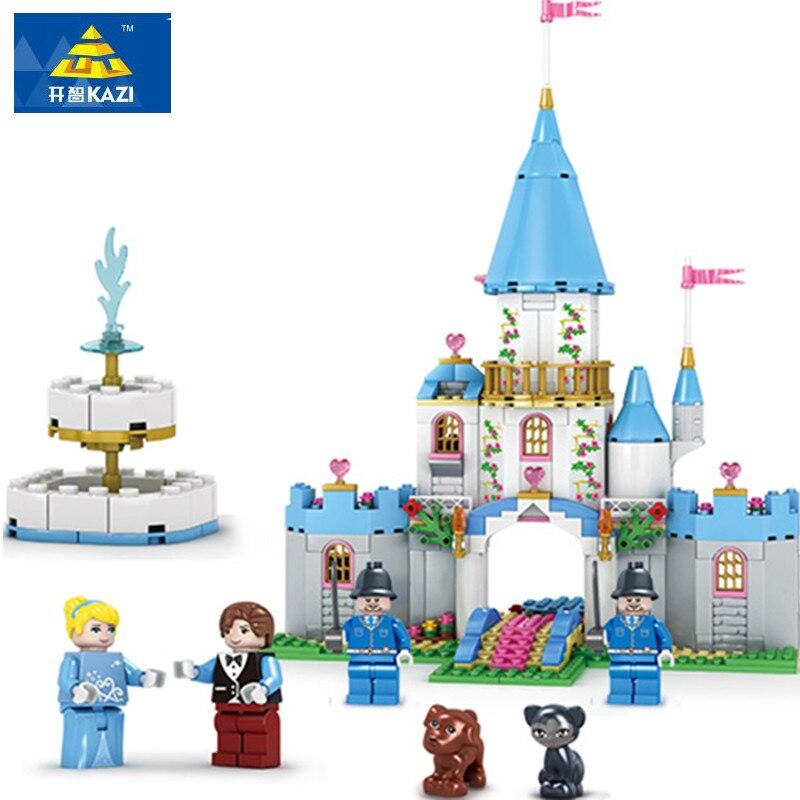 KAZI Christmas Gifts Toys For Child Cinderella Princess Series Romantic Castle Model Building Bricks Girl Blocks Bricks Toys