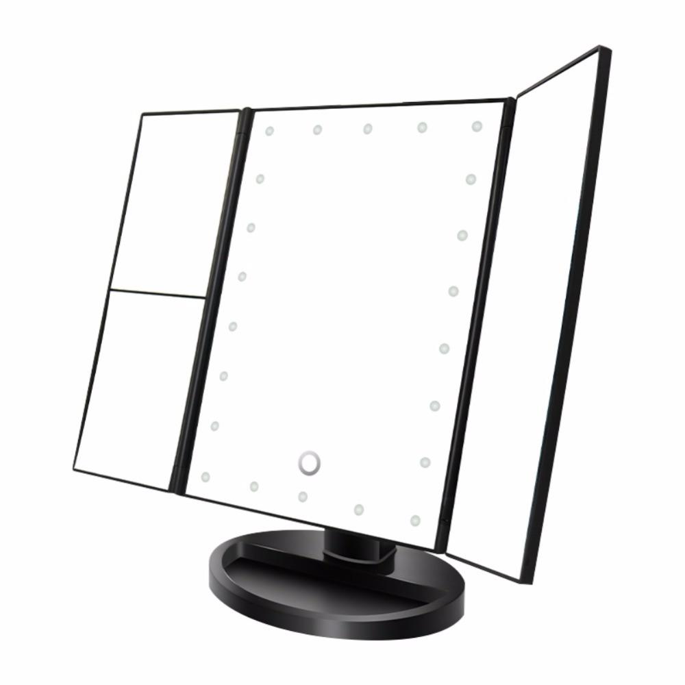 Portable Three Folding Table LED Lamp Luminous Makeup Mirror Cosmetic Mirror Adjustable Tabletop Countertop Mirror Light