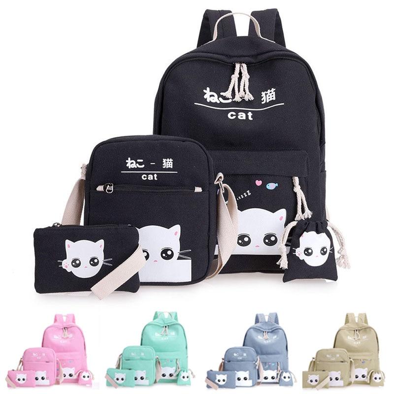 4 Pcs/Set Fashion Korean Women Backpack Canvas Lovely Cartoon Cat Printed Shoulder Bags Pencil Case Lady Girl School Bag Best Sa