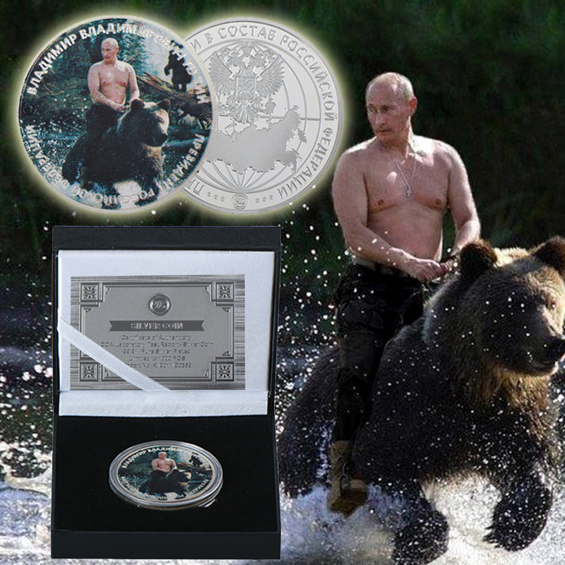 Wr Vladimir Putin Ride Bear Silver Plated Commemorative Coin Russian President Silver Coins With Quality Capsule For Souvenir Coins Russian Coin Coinscoins Silver Aliexpress