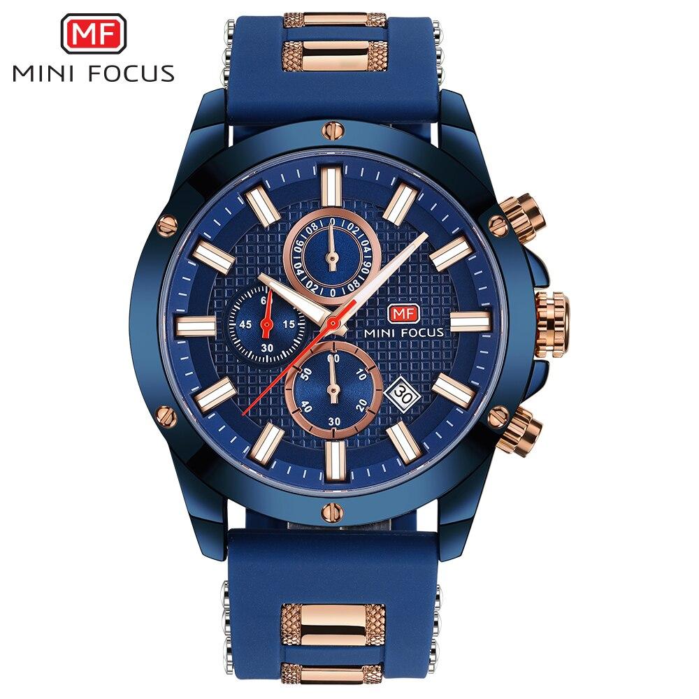 MINI FOKUS Top Marke Luxus Chronograph Uhr Männer Quarz Sport Uhren Army Military Silikon Strap Armbanduhr Männlichen Blau Uhr