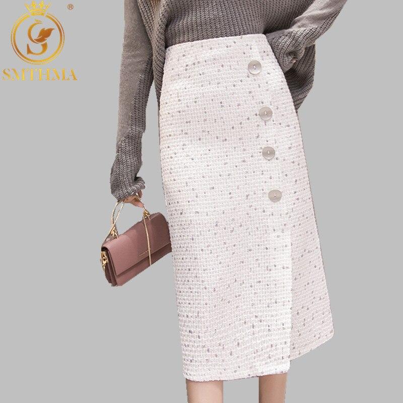 SMTHMA Autumn And Winter Woolen Tweed Skirt 2019 Women Vintage Single-breasted Tweed Split Skirt High Waist Femininas