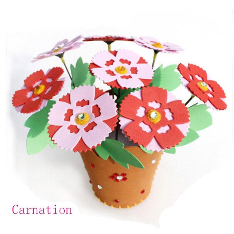 Maternelle EVA fait à la main pot de fleurs pour bricolage en pot matériel paquet coupe libre colle créative Parent-enfant Arts artisanat jouets