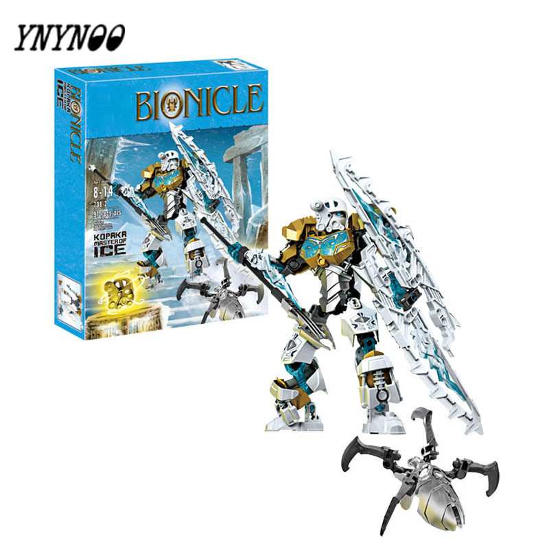 YNYNOO Bionicle Mask of Light XSZ 708-2 Children's Kopaka Masters Of ICE Bionicle Building Block Toys a toy a dream new bionicle mask of light xsz 708 serieschildren s kopaka monster of ice bionicle building block toys