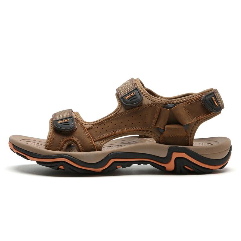 LINGGE/сандалии из натуральной кожи; Мужская Летняя обувь; пляжные сандалии; качественные мужские шлепанцы; большие размеры 39-45;#2628 - Цвет: light brown