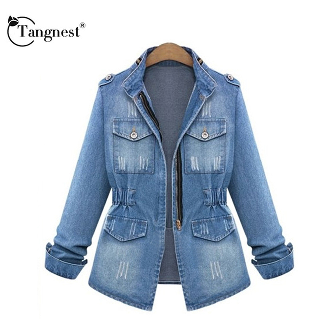 TANGNEST Autumn 2016 Women New Arrival Vintage Pocket Zippers Stand Collar Young Ladies Blue Color Slim Jean Jacket WWJ653