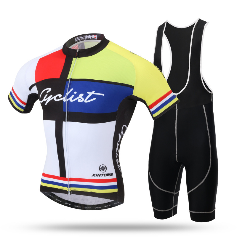 цены  2017 New Summer Men Cycling Set Breathable Quick Dry Short Sleeve and 3D Pad Bib Shorts Sports Bicycle Bike Jersey Suit Ciclismo