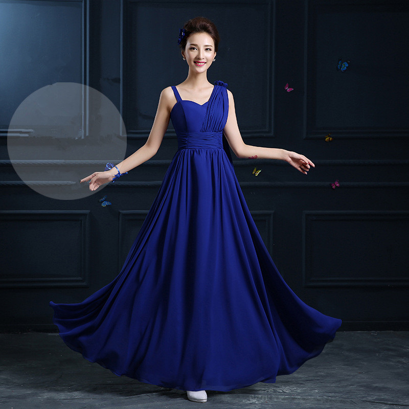 1f55607180 US $28.21 9% OFF|QNZL02#2018 spring summer long lace up royalblue chiffon  bridesmaid dresses wedding party prom dress Ladies fashion wholesale-in ...