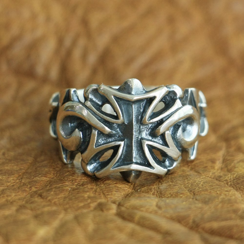 LINSION 925 Sterling Silver Star Cross Ring Mens Biker Punk Ring TA119 US Size 7 15