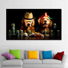 HD Print Photography Art Poster Print Cute Dog With Hat Big Size Canvas Paintings Animal Wall Pictures For Living Room Unframed(China)
