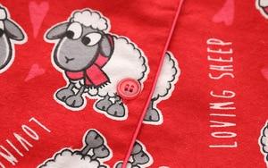Image 5 - Red Pajamas Women Autumn Winter Christmas New Year Sheep Brushed Cotton Long Sleeve Elastic Waist Loose Lounge pyjamas S87394