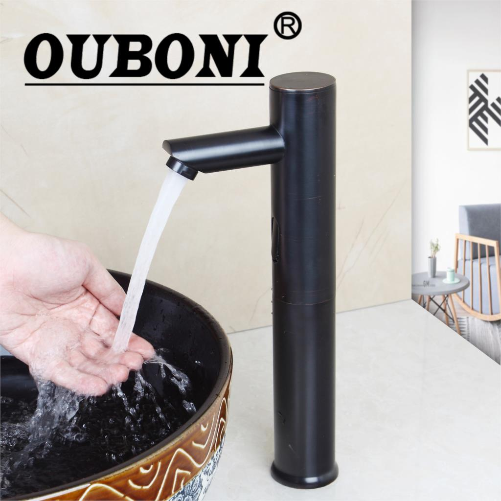 купить OUBONI Automatic Sensor Faucet Bathroom Basin Sink Faucet Oil Rubbed Bronze Water Mixer Tap Touch-Free Infrared Basin Tap по цене 5260.29 рублей