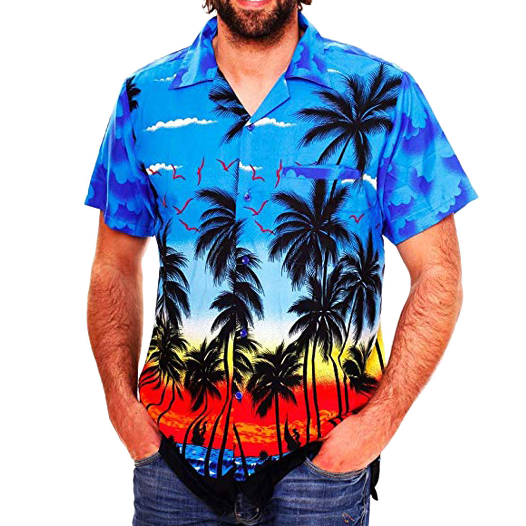 2019 Fashion Men's Casual Button Hawaii Print Beach Short Sleeve Quick Dry Top Blouse M-3XL Hawaiian Shirt Streetwear