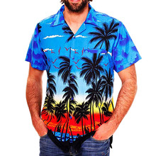 2019 Fashion Men's Casual Button Hawaii Print Beach Short Sleeve Quick Dry Top Blouse M-3XL hawaiian