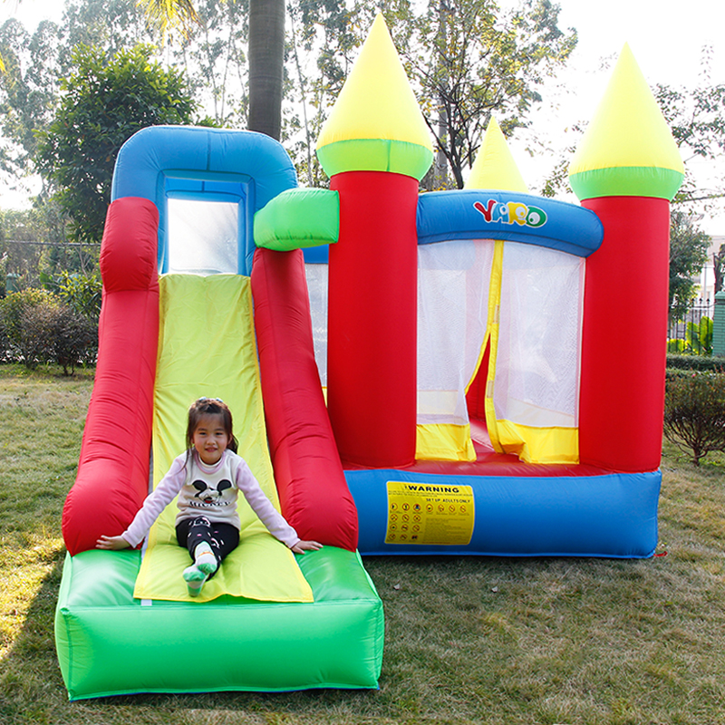 YARD Trampoline Bounce House for children's trampoline smoothSlide Inflatable Trampoline Toys Jumpling Bouncy Castle with Blower yard residential inflatable bounce house combo slide bouncy with ball pool for kids amusement