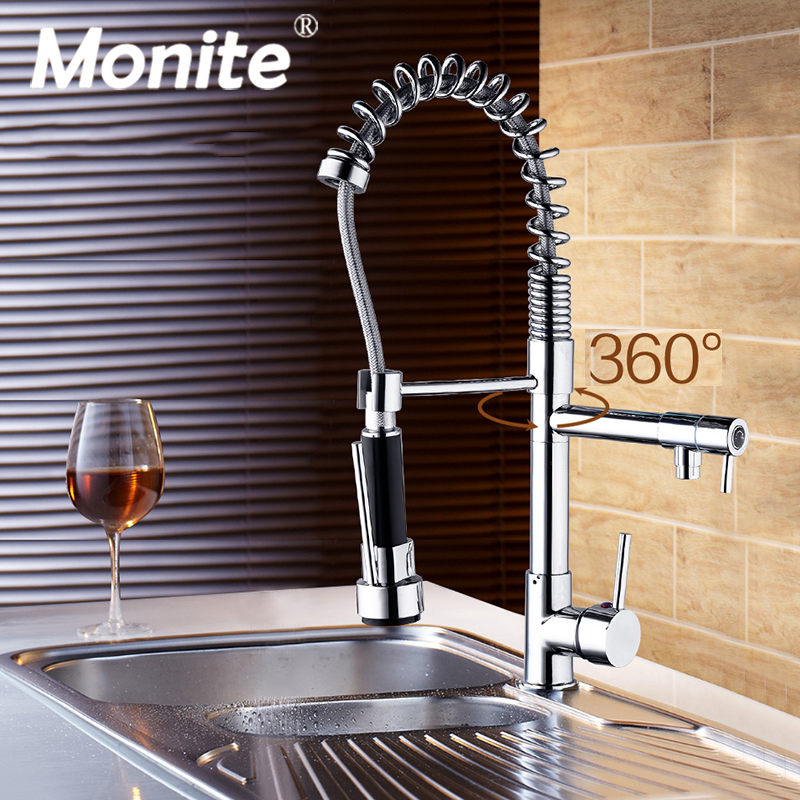 Pull Out Kitchen Tap And Chrome Finished Spring Kitchen Faucet Swivel Spout Vessel Sink Mixer Basign Faucet