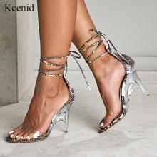 Kcenid סקסי PVC שקוף גבוהה עקבים טריז נעלי נשים סנדלי בוהן פתוח גביש העקב שמלת מסיבת נעלי נחש הדפסה סנדלי