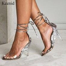Kcenid seksi PVC şeffaf yüksek topuklu kama ayakkabı kadın sandalet açık toe kristal topuk elbise parti ayakkabıları yılan baskı sandalet