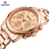 MEGIR Ladies Quartz Watch Women Girl Lovers Wristwatch Stainless Steel Band Strap Chronograph Time Clock Fashion Female Watches