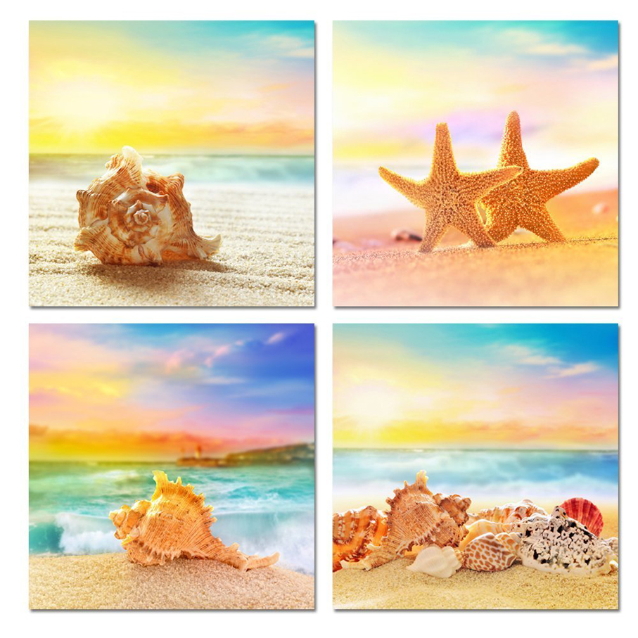 4 Piece Modern Canvas Seascape Canvas Prints Beautiful Beach Scenes Beach Picture Wall Art Painting for Home Decor Free shipping