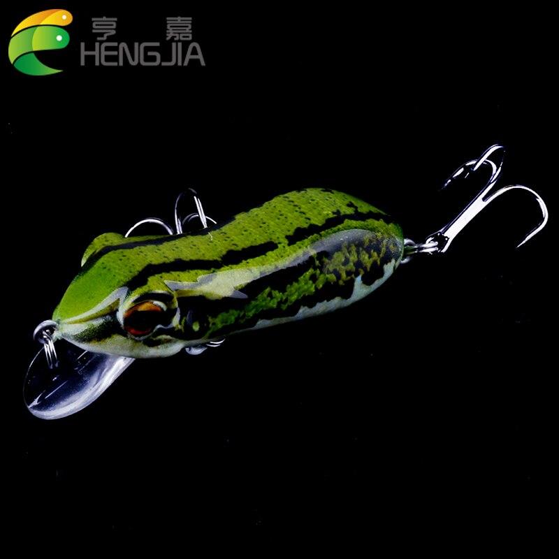 HENGJIA 1pc 9.8g 6cm hard frog fishing lure professional floating crankbait 2 Treble Hooks Topwater Bait Lure good swimming good hard