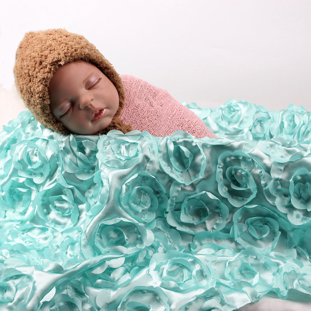 9565cm 3d rose fabric photography props baby blanket swaddling newborn photography props backdrops floral