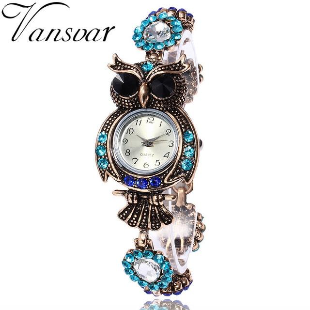 Vansvar Brand Owl Bracelet Watches Luxury Fashion Women Dress Watch Beautiful Gi