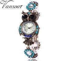 Vansvar Vintage Quartz Watches Luxury Brand Owl Fashion Women Bracelet Watch Beautiful Girl Gift Watch Relogio