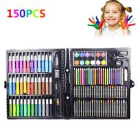 150pcs Children's Drawing Painting Tools Set Water Color Pen Oil Pastel Paint Brush Drawing Pens Art Gifts