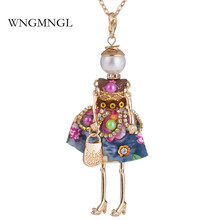 WNGMNGL 2018 New Design Charm Embroidery Dress Handbag Cute Doll Pendant Long Chain Necklace For Women Fashion Jewelry Gift
