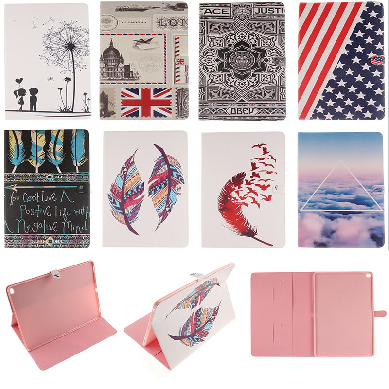 Fashion Feather Lotus Cloud Pattern PU Leather Flip Wallet Case For iPad Pro 12.9 Tablet Back Cover Coque Funda For iPad Pro