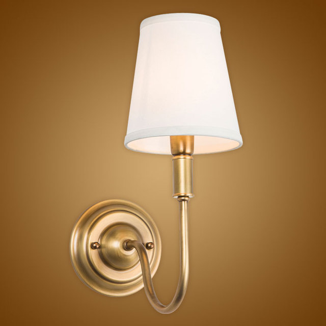 Delicieux Modern Wall Lamp Real Copper Wall Sconces Fabric Lampshade Bathroom Mirror  Bedside Cabinet Fixtures Home Lighting