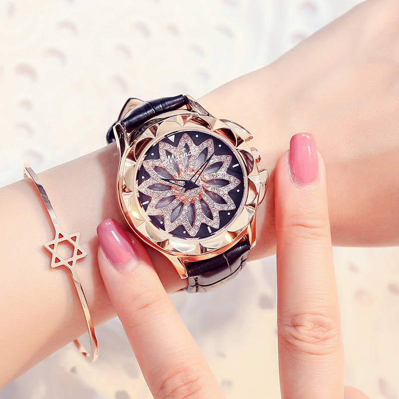 Mashali Brand Fashion luxury Women Quartz Watches Lady Shining Rotation Dress watch Big Diamond Stone Clock watch relojes mujer weiqin new 100% ceramic watches women clock dress wristwatch lady quartz watch waterproof diamond gold watches luxury brand