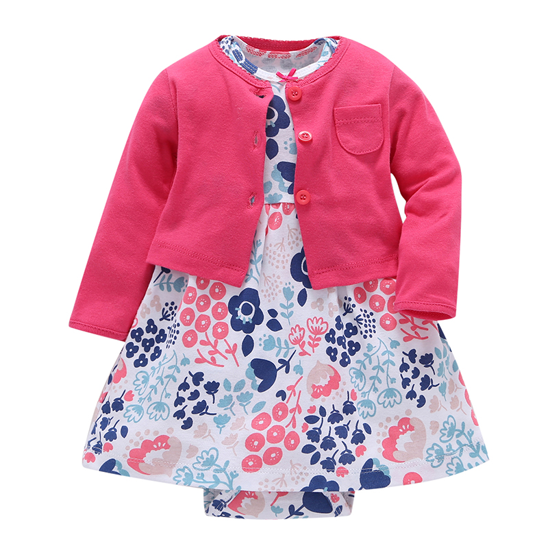Newborn Baby Girl Dress 2pcs Sets Floral Dresses + Long Sleeve Red Cardigan Infant Toddle baby Girls Clothes set