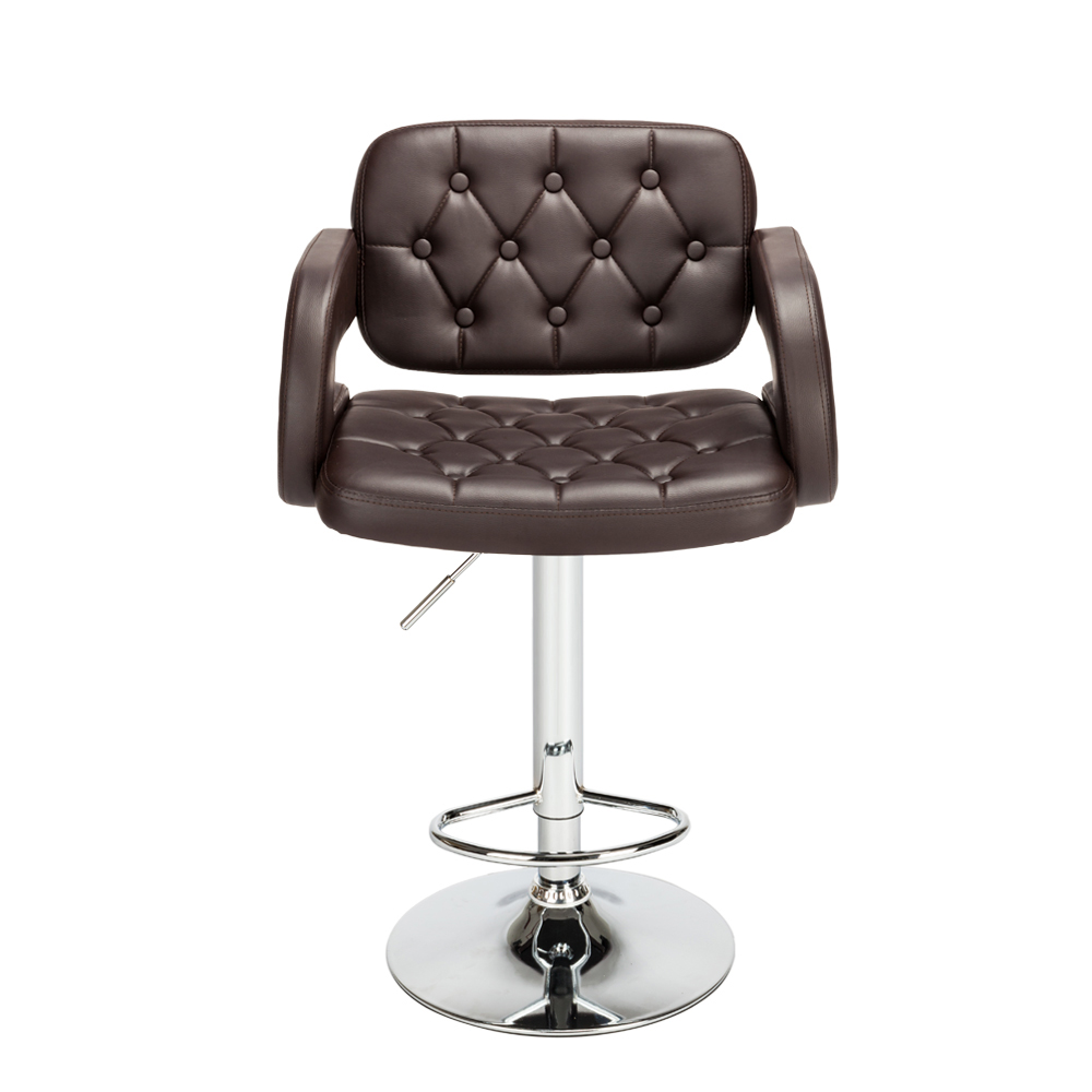 2pcs Adjustable Metal Bar Stool Faux Leather Swivel Gas Lift Bar Chair Button Tufted with Armrest Footrest Dropshipping homall bar stool walnut bentwood adjustable height leather bar stools with black vinyl seat extremely comfy with seat back pad