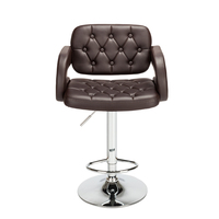 2pcs Adjustable Metal Bar Stool Faux Leather Swivel Gas Lift Bar Chair Button Tufted with Armrest Footrest Dropshipping
