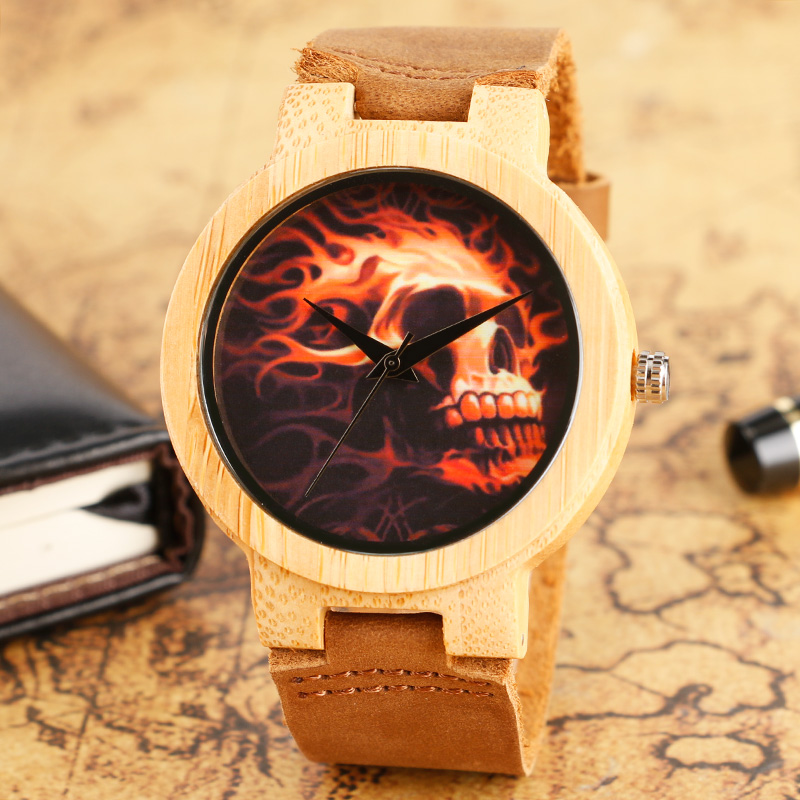 Men Fashion Cool Burning Skull Dial Wooden Watch Brown Leather Band Nature Bamboo Wood Sport Casual Quartz Wrist Watch Gifts