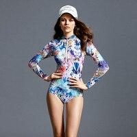 2017 Women Long Sleeve Swimwear Print Surfing Bathing Suits Sexy One Piece Sport Swimsuit Female Beach