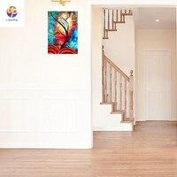 ホット販売ホーム装飾ファンタジーツリーライト掛り絵画キャンバス油絵用リビングルーム水彩花プリント陽気