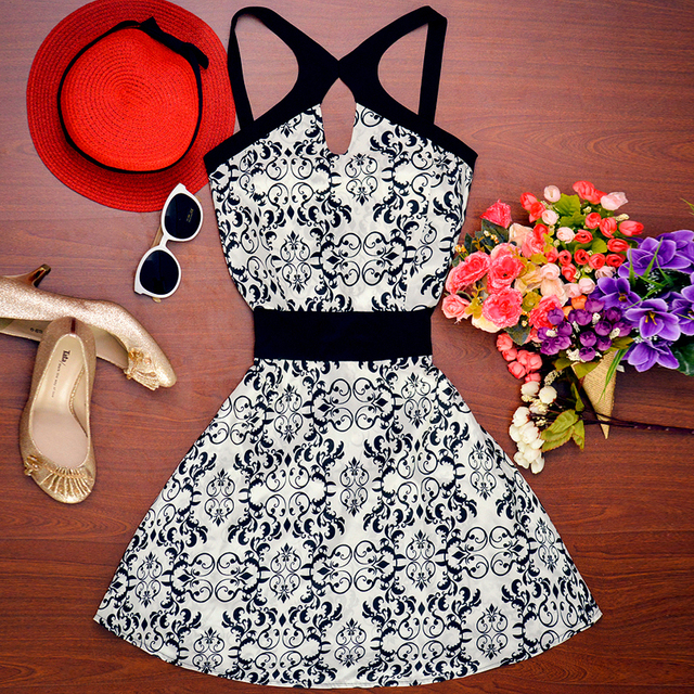2016 nova estilo moda verão mulheres vestido o pescoço sem mangas fino cintura alta vestidos estampados vintage casual mini vestido