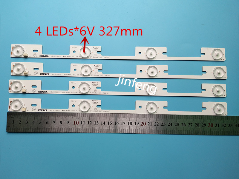 New100Pieces LED Backlight Bar For KONKA KDL39SS662U 35018339 35018340 327mm 4 LEDs( 1 LED 6V)