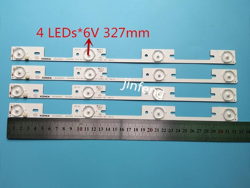 New100Pieces LED Backlight Bar For KONKA KDL39SS662U 35018339 35018340 327mm 4 LEDs( 1 LED 6V)