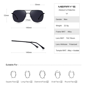 Image 3 - MERRYS Men Classic Sunglasses Aviation Frame HD Polarized Shades For Driving Sun Glasses UV400 Protection S8173