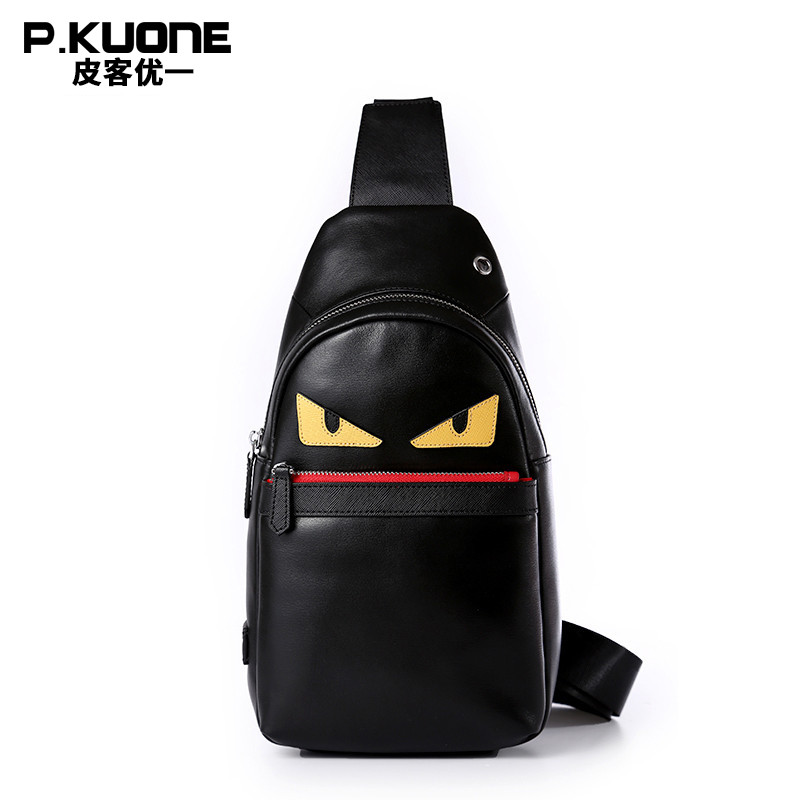 Natural Genuine Cow leather Chest bag Korean Fashion style women and men messenger bags Little monster Brand designer chest pack запонки коюз топаз запонки т13019085