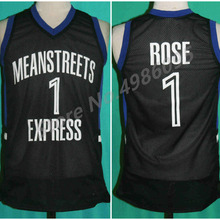 52a3b36916b Derrick Rose #1 Mean Streets Express Retro Basketball Jersey Mens Stitched  Custom Any Number Name Jerseys