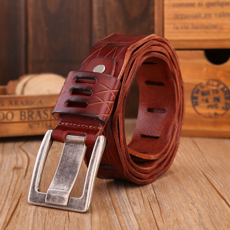 VOHIO High quality mens belt 4.0cm wide Cowhide 100% Black belt mans Pin buckle mens leather belts for jeans off withe 130cm