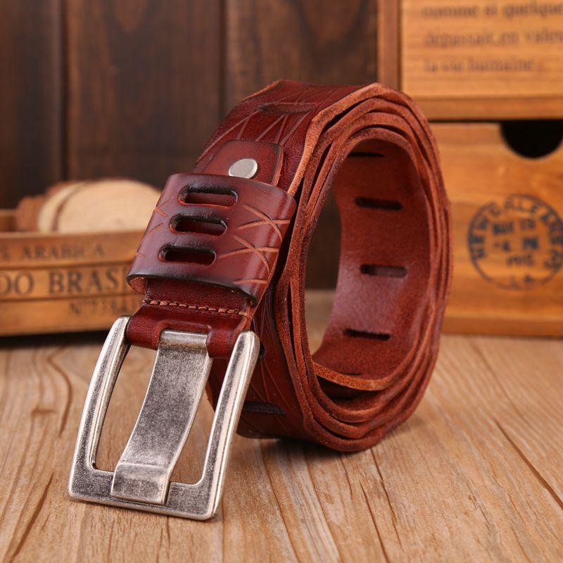 VOHIO haute qualité hommes ceinture 4.0 cm large peau de vache 100% noir ceinture hommes boucle ardillon hommes en cuir ceintures pour jeans off withe 130 cm