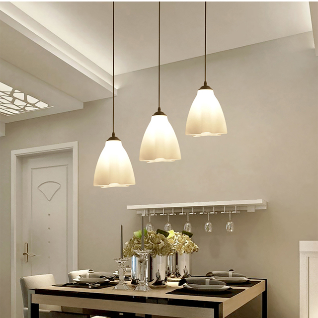 Moderno semplice led tre teste lampadari creativi lampade da tavolo da pranzo moda vetro - Lampade sopra tavolo da pranzo ...