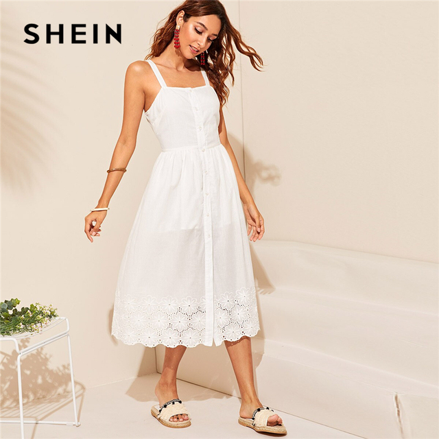 SHEIN White Embroidered Eyelet Hem Button Up Summer Boho Dress Women Straps Empire Dress Solid Fit and Flare Long Cami Dresses