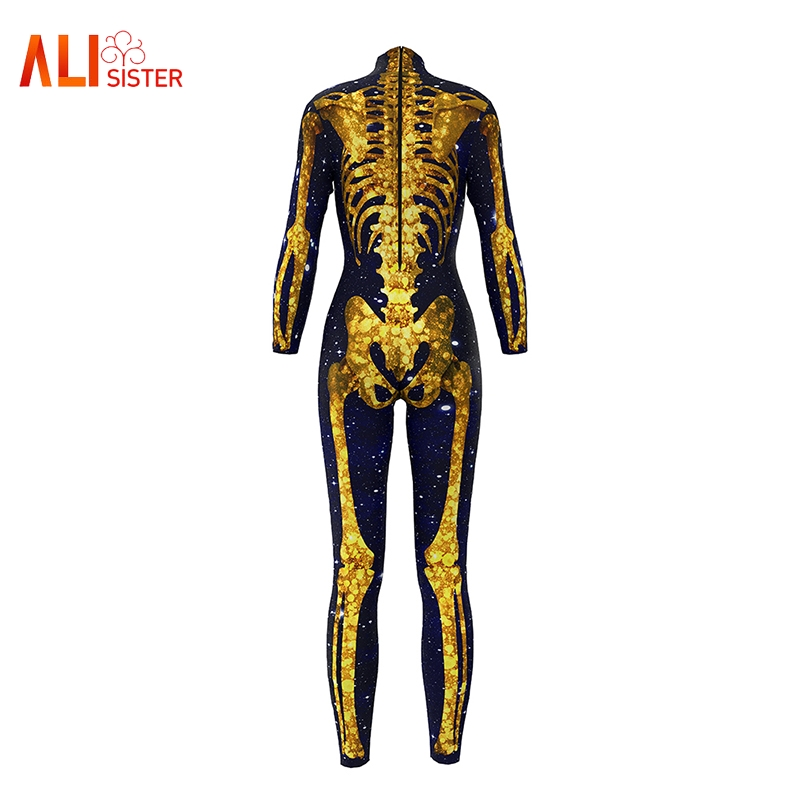 2019 New Sexy Women Bodysuit Funny 3d Spider Web Galaxy Skull Skeleton Printed Jumpsuits Halloween Cosplay One Piece Body Suits